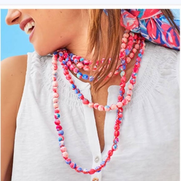 NWOT Lilly Pulitzer wrap beaded fabric necklace